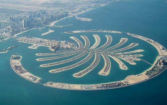 Fond d'écran Émirats Arabes Unis, Dubaï, Palm Jumeirah, vue de dessus