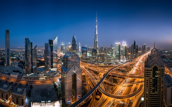 Wallpaper UAE, Dubai, night city, skyscrapers, road, lights