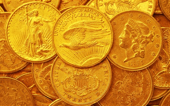 Wallpaper US dollars, gold coins