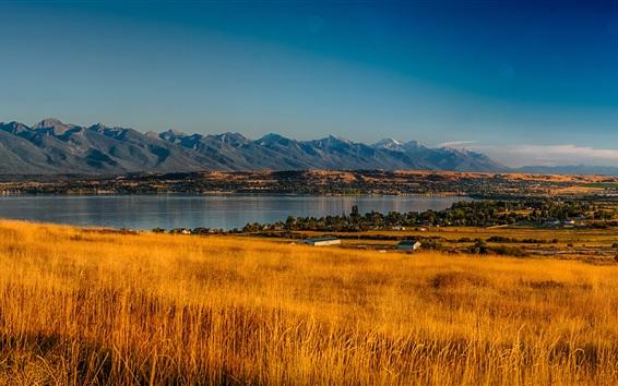 Wallpaper USA, Montana, Rocky Point, trees, valley, mountains, grass, river, autumn