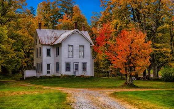 Fondos de pantalla Estados unidos de américa, nueva york, mansión, casa, árboles, trayectoria, otoño