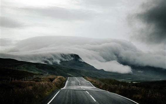 壁紙 イギリス、スコットランド、道路、霧、朝
