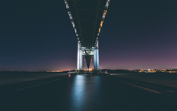 Wallpaper Verrazano Bridge, river, night, bottom view, lights, New York, USA