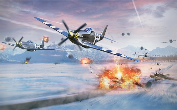 Wallpaper War Thunder, battle, fighter, video games