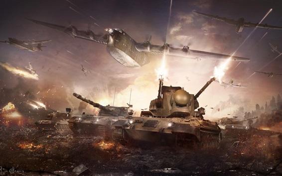 Wallpaper War Thunder, hot game, tanks, bomber
