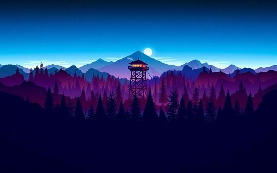 Papéis de Parede Torre de vigia, lua, montanhas, floresta, imagem de arte