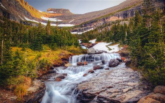 Fondos de pantalla Cascadas, árboles, montañas, paisaje de la naturaleza