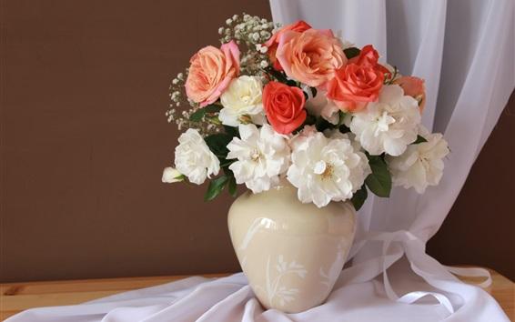 Papéis de Parede Rosas brancas e rosas, vaso
