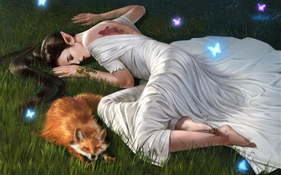 壁紙 白いスカートファンタジーガールとキツネは草の中で眠る