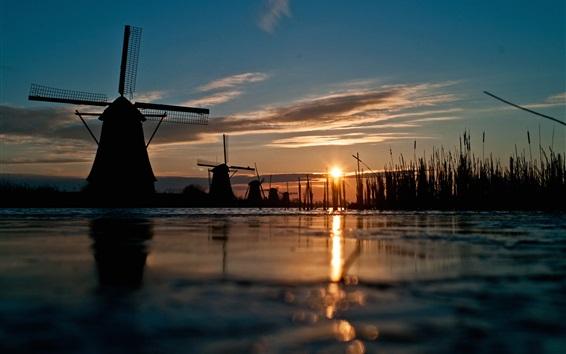 Wallpaper Windmill, sunset, river, grass
