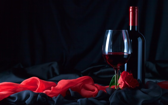 Wallpaper Wine, bottle, glass cup, red rose, cloth