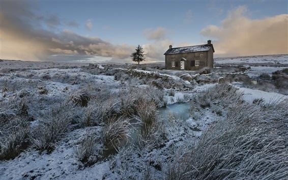 Wallpaper Winter, grass, snow, house, dusk