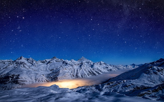 Wallpaper Winter, mountains, clouds, night, starry, snow