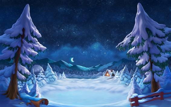Papéis de Parede Inverno, nevado, árvores, cabana, luzes, estrelado, lua