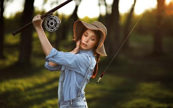 Wallpaper Woman, fisher, hat