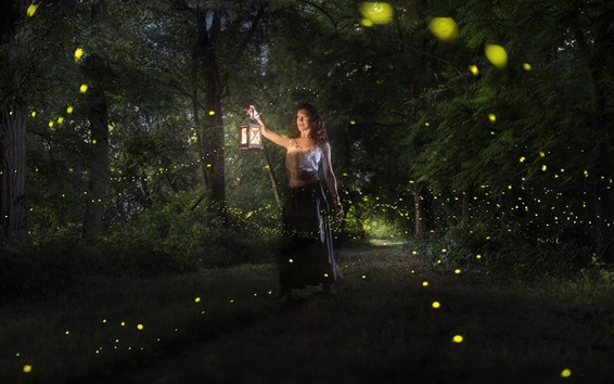 Wallpaper Woman in the forest, night, lights, magic