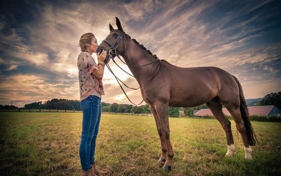 Wallpaper Woman kiss horse