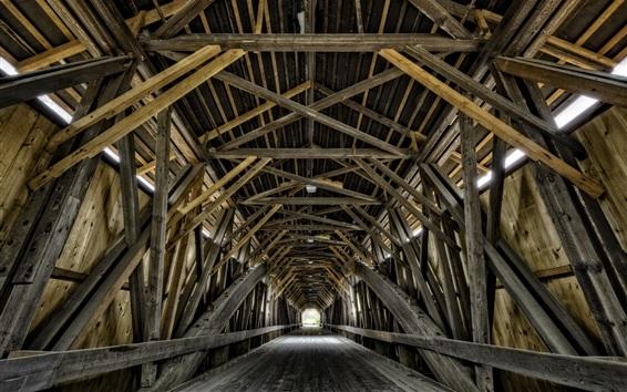 Fond d'écran Pont en bois, tunnel