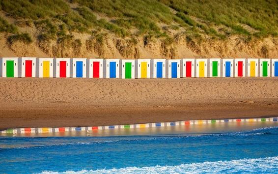 Fondos de pantalla Playa de Woolacombe, Inglaterra, Devon, cabañas de colores