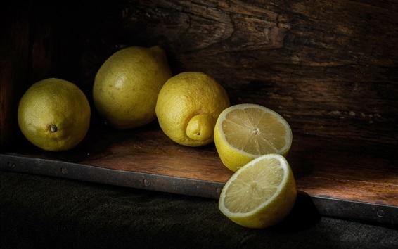 Papéis de Parede Limões amarelos, close-up de frutas