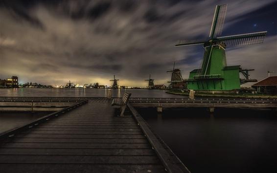 Wallpaper Zaanse Schans, Netherlands, night, windmills, bench, dusk