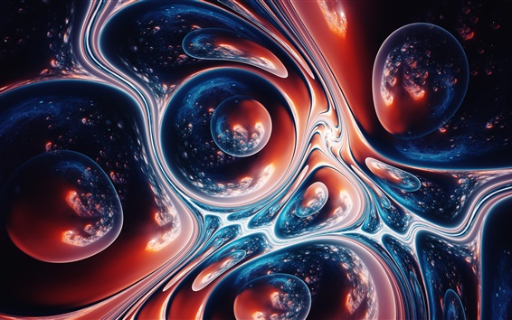 Wallpaper Abstract space, drops, fiction, fractal artworks