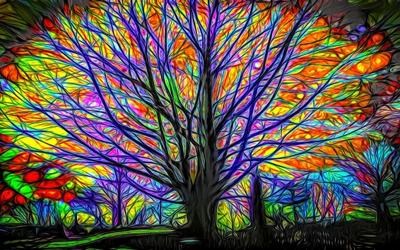 Wallpaper Abstract tree, colorful lines, glow