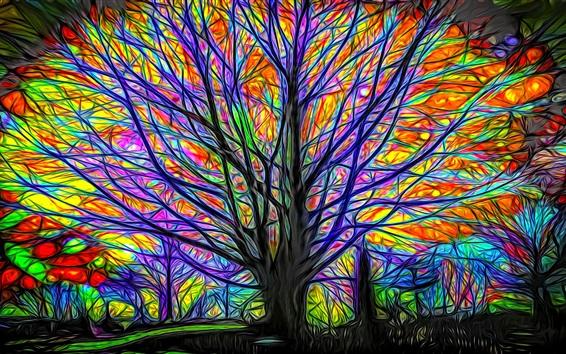 Обои Абстрактное дерево, красочные линии, свечение