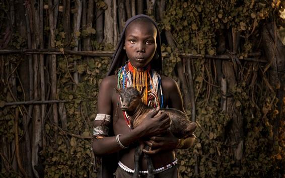 Wallpaper Africa, Ethiopia, goat, black skin girl