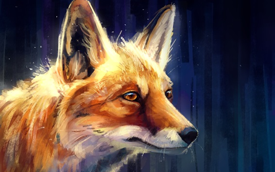 Wallpaper Animal painting, fox