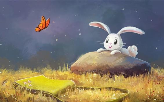 Papéis de Parede Pintura de arte, feliz coelho branco, grama, borboleta