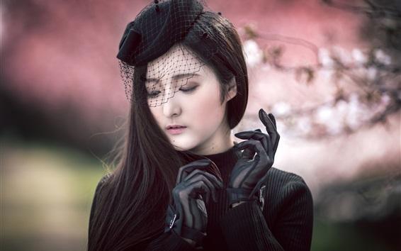 Wallpaper Asian girl, black dress, gloves, veil