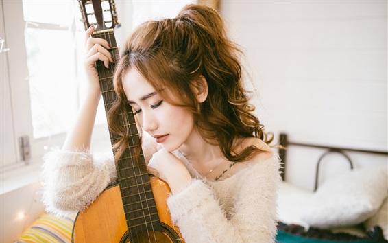 壁纸 亚洲女孩,卷发,吉他,音乐