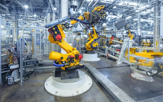 Wallpaper Auto Industry, factory, specialized machinery, robotics