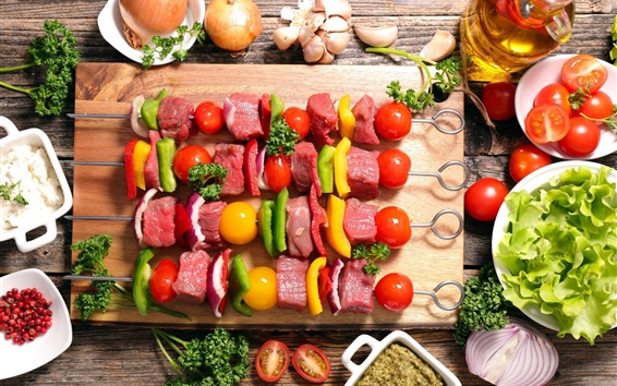 Wallpaper BBQ, kebab, meat, vegetables, food
