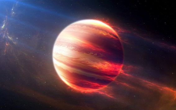 Обои Красивый Юпитер, космос, цифровое искусство, красная планета, звезды