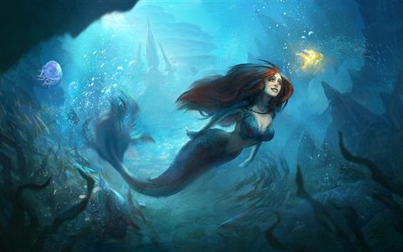 Fond d'écran Belle sirène, sous l'eau, poisson rouge, peinture d'art