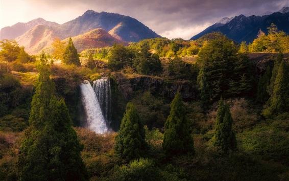 Wallpaper Beautiful nature landscape, waterfall, trees, mountains, autumn