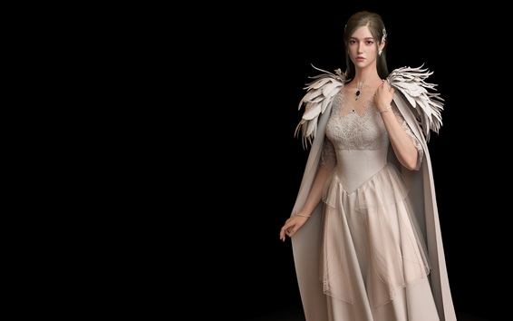 Wallpaper Beautiful princess, angel, wings, black background