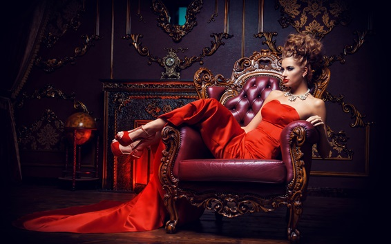 Wallpaper Beautiful red dress girl, pose, necklace, hairstyle, makeup, chair