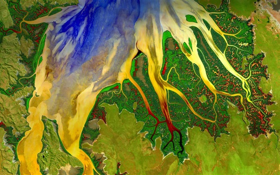 Wallpaper Beautiful satellite view, Western Australia, river