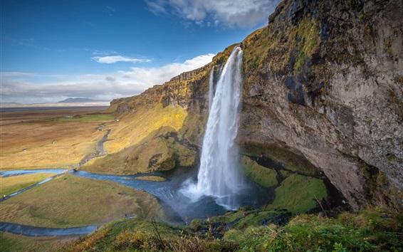 Wallpaper Beautiful waterfall, river, mountains, nature landscape