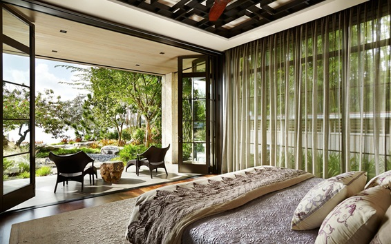 Wallpaper Bedroom, interior, terrace, trees