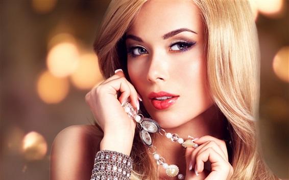 Wallpaper Blonde fashion girl, portrait, decoration, hairstyle, makeup
