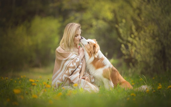 Wallpaper Blonde girl and dog, lawn, flowers