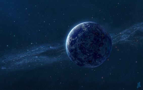 Wallpaper Blue Earth, the milky way, stars, digital universe