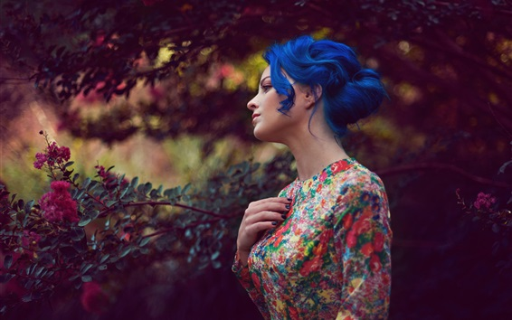 Wallpaper Blue hair girl, flowers