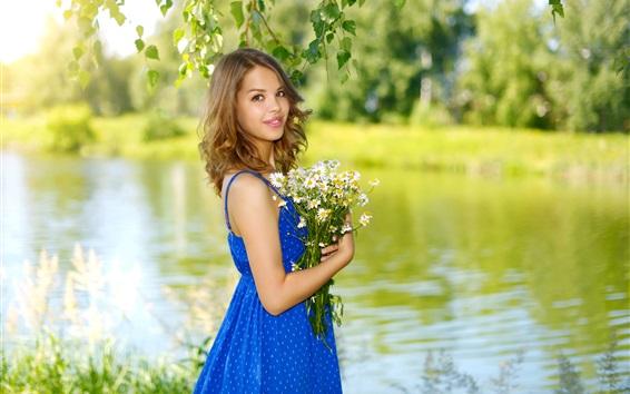 Wallpaper Blue skirt Asian girl, flowers, summer