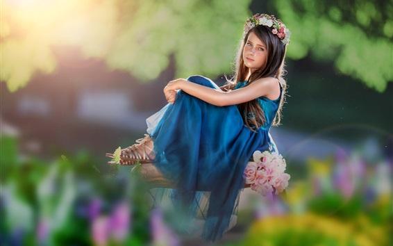 Papéis de Parede Saia azul menina criança, grinalda