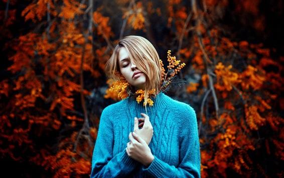 Wallpaper Blue sweater girl, sadness, flowers